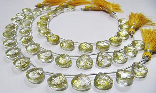 Shree_Narayani Cuentas de oro natural de cuarzo rutilado Hydro forma de corazón 11-12 mm Briolette tamaño hebra 8 pulgadas de largo color dorado forma de corazón cuentas de piedra natal 1 hebra