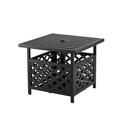 "AECOJOY 22'' x 22'' Outdoor Umbrella Side Table Steel Stand with 1.58"" Umbrella Hole, Umbrella Side Square Table for Deck, Pool, Garden, Black"