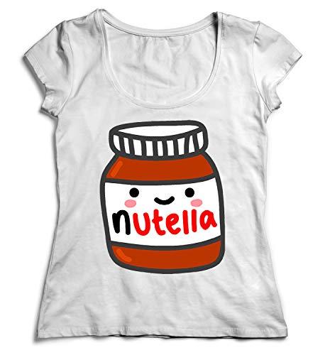 Nutella Jar Smiling Tasty Happy Nutela Damen T-Shirt White Tshirt SM Women Shirt White