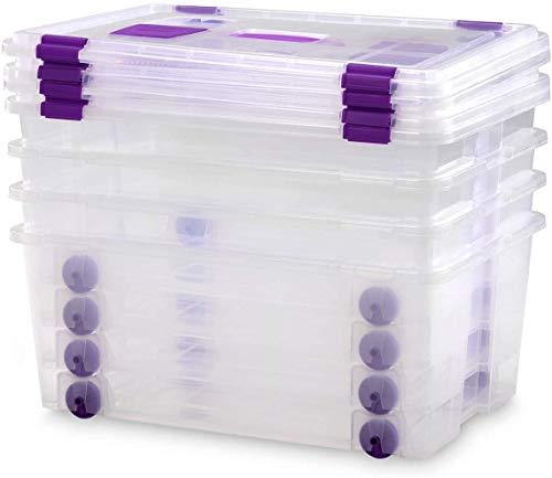 COM-FORT HOUSE Caja Plástico Almacenaje Grandes Multiusos con Asa y Ruedas - Medidas 585 x 390 x 250 - Capacidad de 42 litros (4)