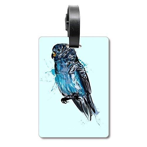 Etichetta per valigia con pappagallo e uccelli, colore: nero e blu