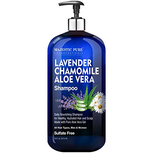 MAJESTIC PURE Lavender Chamomile Aloe Vera Shampoo - Cleansing, Hydrating, Nourishing, Sulfate Free - Daily Shampoo for Men and Women, All Hair Types - Promotes Scalp Health - 16 floz