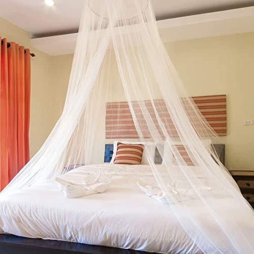 Moskitonetz Bett Doppelbett Aufhängen Moskitonetz für Babybett Einzelbett Weiß Rund Mückennetz Bett für Zuhause, Garten, Balkon, Camping, 11 m x 2,6 m