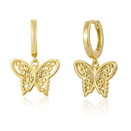 Brandlinger ® Pendientes aros de plata de ley 925 bañada en oro de 18k con colgante mariposa