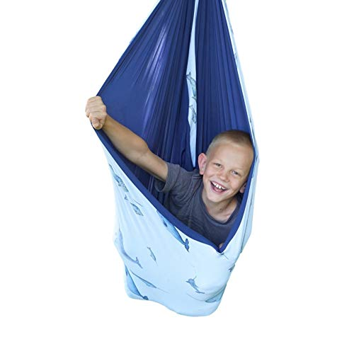 SENSORY4U Sensory Swing (Double Layered and Reversible Narwhal Print or Navy Blue Fabric) Indoor...