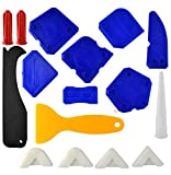 Caulking Tool Kit, Wobe Caulking Tools Silicone Sealant Finishing Tool Grout Scraper Caulk Remover Caulk Nozzle Caulk Caps 5 Replaceable Pads for Bathroom Kitchen Sealing (Blue)