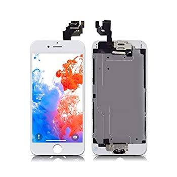 ZTR for iPhone 6 Plus Digitizer Screen Replacement White 5.5 inch Full LCD Display Assembly with Home Button Front Facing Camera Earpiece Speaker and Repair Tool Kits