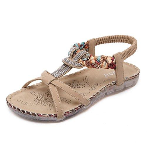 Mine Tom Mujeres Sandalias Verano Estilo Étnico Playa Zapatos Bohemio Sandalias Punta Abierta Deslizadores Albaricoque 41