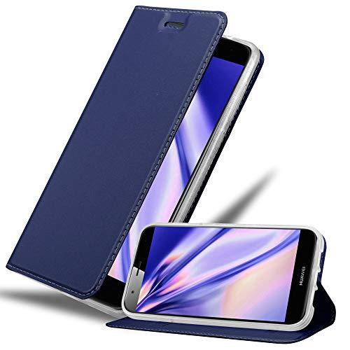 Cadorabo Hülle für Huawei G7 Plus / G8 / GX8 - Hülle in DUNKEL BLAU – Handyhülle mit Standfunktion & Kartenfach im Metallic Erscheinungsbild - Hülle Cover Schutzhülle Etui Tasche Book Klapp Style