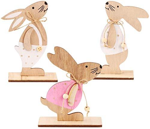 REUUY Decorazione pasquale, coniglio, decorazione pasquale, in legno, set di 3 decorazioni pasquali, giardino, coniglietto pasquale, decorazione pasquale in legno.