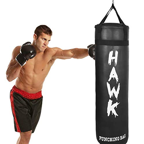 Punching Bag for Boxing Gloves MMA Training Muay Thai Fitness Banana Workout Kickboxing Grappling Karate Heavy Target Bag 4FT UNFILLED (Black)