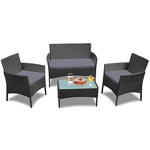 LZQ Set di mobili da giardino in polyrattan per 4 persone, con divano a 2 posti, sedie singole, tavolo e cuscini per seduta, antracite