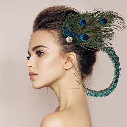 E-More - Tocado con plumas de pavo real para el cabello, diadema con diamantes de imitación para niñas y mujeres, decoración de fiestas, color verde, talla única