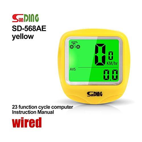 WSGYX Bike Computer della Bicicletta Computer Tachimetro Senza Fili Impermeabile cronometro Contachilometri LCD retroilluminato Nero (Color : Y 568AE Wired)