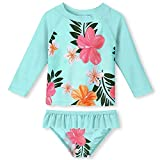 UNIFACO Girls Swimwear Flower Print Rash Guard 2-Piece Summer Casual Beach Swimsuit Set - Long Sleeve Novelty Bikini Size 3T