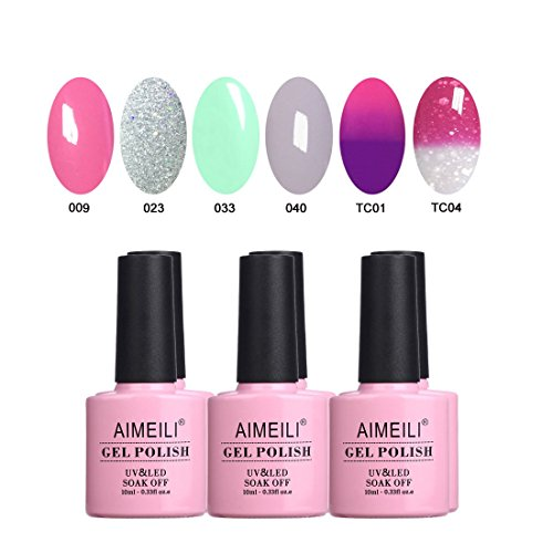 AIMEILI UV LED Gellack Frühling Sommer mehrfarbig ablösbarer Gel Nagellack Gel Polish Set - 6 x...