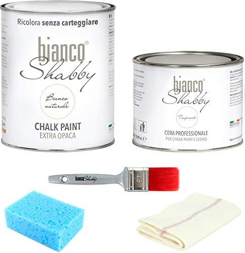 KIT CHALK PAINT Bianco Naturale (1 Litro) & CERA NEUTRA (500 ml) + Pennello (40 mm) + Spugna + Panno per lucidare