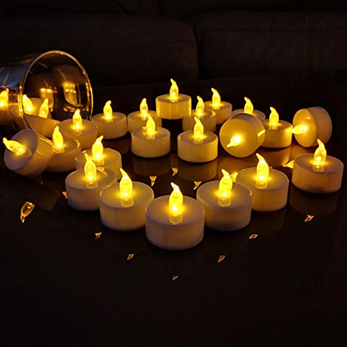 TEECOO 50pcs Battery Tea Lights Electric Candles Flickering Realistic Flameless LED Tealights Long Lasting Operated Candles Decoration for Party and Gifts Ideas