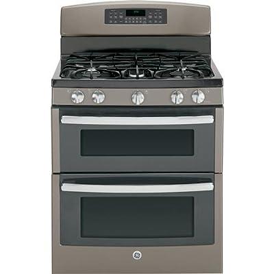 "GE JGB850EEFES 30"" Slate Gas Sealed Burner Double Oven Range"