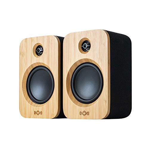 House of Marley Get Together Duo Bluetooth-Lautsprecher - Nachhaltig hergestellte Regallautsprecher , Wireless Soundsystem, Netzbetrieb/ 20 Stunden Akku, Aux-in-Funktion, High-Definition-Verstärker