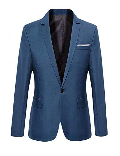 Laisla fashion Herren Herbst Anzug Blazer Anzugjacke Hochzeit Langarm Smoking 1 Knopf Classic Slim Fit Mantel Sakko Partei Elegant Nner Suit Cocktail Klagejacke Jungs (Color : Blau, Size : M)