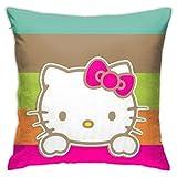 TBLHM - Funda de cojín cuadrada de 45 x 45 cm, diseño de Hello Kitty