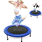 ANCHEER Foldable Mini Trampoline Rebounder, Quiet and Safe Bounce Spring Mini Bouncer Fitness Trampoline Rebounder for Kids Adults in Home/Garden/Office Cardio Trainer (Blue, 38inch Folding Twice)