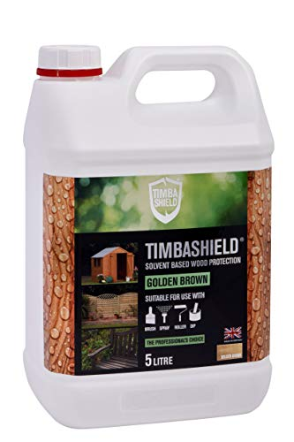 Timbashield Woodstain/Timber Treatment - Premium Solvent Based Protection - 5 Litre - Various Colours (New Golden Brown)