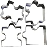 4 PCS Puzzle Pieces Fondant Cutter Cookie - Stainless Steel Cake Mold Puzzle Piece Pastry Cookie Cutter Biscuit Baking Tools Accessories for Home Baking Birthday Party Decoration