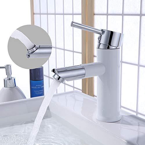 Homelody 360° drehbar Auslauf Badarmatur Waschtischarmatur für Bad Wasserhahn Einhebelmischer Waschbecken Mischbatterie Waschtischbatterie, weiss