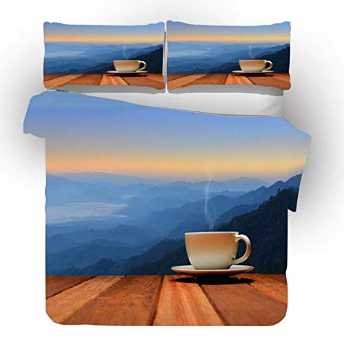 YHHAW Duvet Cover Sets,Coffee and beach scenery Print,Soft Microfiber duvet sets pillowcase,2 Pieces (1 Duvet Cover + 1 Pillow cases) Bedding Sets-135x200cm