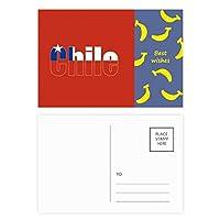 チリ国の旗の名 バナナのポストカードセットサンクスカード郵送側20個