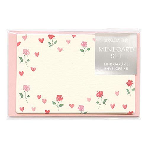 メッセージカード BROOCHIR【heart】 ミニカード & ミニ封筒 セット 5枚 かわいい
