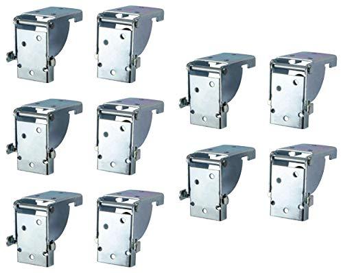 Gedotec Klappbeschlag Tisch-Klappenbeschlag klappbar für Tischbeine und Bänke | Stahl verzinkt | Klappkonsole für Tisch-Füße 38 x 38 mm | MADE IN GERMANY | 5 Paar - (10 Stück) - Klapptisch-Beschläge