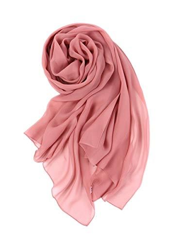 prettystern Damen 176cm Uni-farbe Leicht Seiden-Schal Crepe Georgette Schal Rosa Ash-Rose