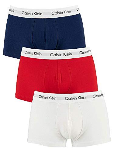 Calvin Klein Herren Boxershorts 3P Low Rise Trunk Ohne Eingriff, 3er Pack, Mehrfarbig, Medium