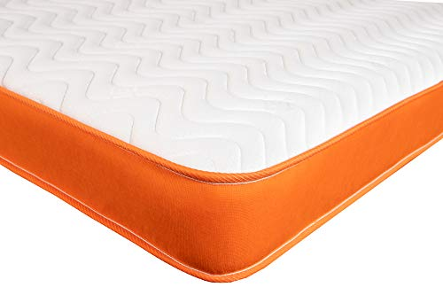 Extreme Comfort - Single Mattress. Memory Foam Mattress with Springs Featuring an Orange Border and Wavy Line Top Panel (3ft x 6ft3, 90cm x 190cm)