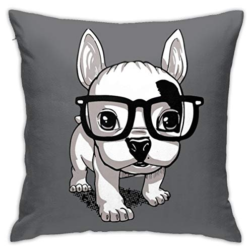 antcreptson Lovely Striped Frenchie Puppy Decorative Throw Pillow Covers,18x18 Pillow Covers for Couch Sofa Bed Soft Cushion Covers