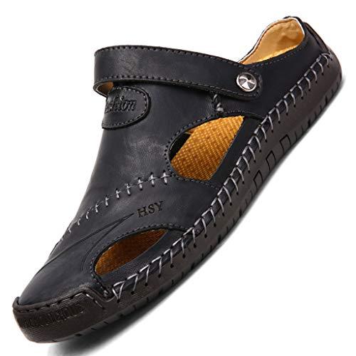 KItipeng Sandales Mules Tongs Homme,Pas Cher Chaussures De Plage Surf Sport Marche,Chaussons Hommes Pantoufle Chausson Homme Cuir,éTé RandonnéE Bout Ouvert Plate Chaussure Surf Piscine Sandale Noir
