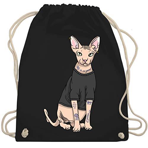 Shirtracer Katzen - Tattoo Sphynx-Katze - Unisize - Schwarz - WM110 - Turnbeutel und Stoffbeutel aus Bio-Baumwolle