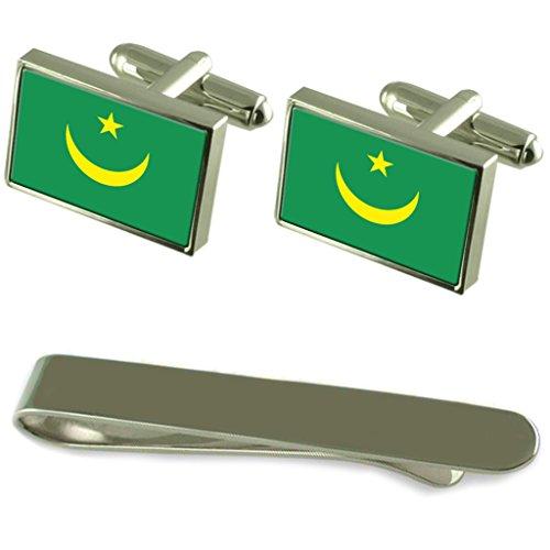 Select Gifts Flagge Mauretanien Silber Manschettenknöpfe Krawatten Geschenkset mit Gravur
