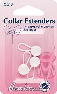 Hemline Collar Extender/Expander Button White