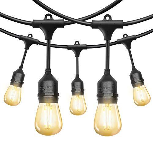 EAGWELL Outdoor String Lights 52 Ft Strand Dimmable Led Bulbs