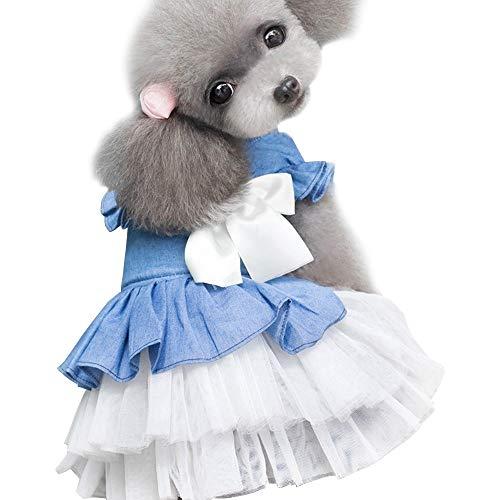 MiOYOOW Vestido de perro para mascota, jersey de invierno, falda vaquera, falda para perros pequeños y grandes