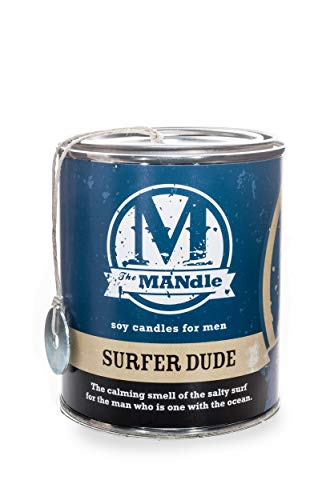 Eco Candle Co. The Mandle Soy Candle for Men - Scents of Marine Air, Citrus, & Musk - Surfer Dude, 15 oz. Paint Can - 100% Soy Wax, No Lead, Hand Poured, Made from Midwest Grown Soybeans