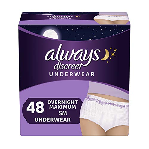 Always Discreet Incontinence & Postpartum Underwear for Women, Disposable, Overnight Maximum + Protection, Small/Medium 16 Count - Pack of 3 (48 Count Total)