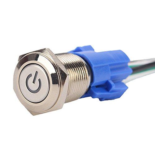 KKmoon 16mm 12V Voiture Bleu Métal LED Bouton Poussoir Interrupteur à Bascule Prise Plug pour Voiture