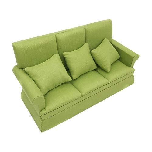 H87yC4ra Juego de sofá de muebles de casa de muñecas, 1/12 mini muñeca casa simulación sofá modelo sala decoración muñeca casa miniaturas accesorios para niños juguete regalo verde