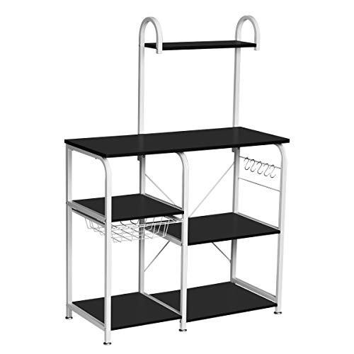 """KINGSO Kitchen Bakers Rack Utility Storage Shelf 35.4"""" Microwave Stand Kitchen Shelf Organizer Work Table with 6-Tier Shelves & 1 Basket for Spice Rack and Shelves for Storage 52.1"""" Height, Black"""