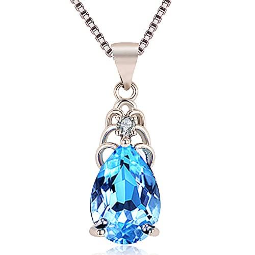 N/A Collar Damas Azul Cristal Forma de Gota Colgante Regalo para Ella